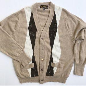 Scottish Cashmere Vintage Argyle Grandpa Cardigan